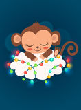 Cute Baby Monkey And Garlands. Baby Monkey For Sale. Sleeping Monkey. Baby Monkey Doll. Royalty Free Stock Photo