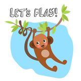 Cute baby monkey hanging on tree with lettering about play. Kids cartoon illustration with monkey, tree branch and leaves. Stock Image