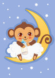 Cute Baby Monkey On The Moon Holding A Bottle Of Milk. Cartoon Vector Card. Royalty Free Stock Photos