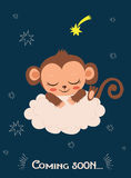 Cute Baby Monkey Sleeping On A Cloud. Cartoon Vector Card. Monkey Sleeping Image. Stock Photography