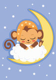 Cute Baby Monkey Is Sleeping On The Moon. Cartoon Vector Card. Royalty Free Stock Images