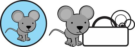 Cute baby mouse cartoon copyspace sticker Royalty Free Stock Photography