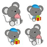 Cute baby mouse cartoon feeding bottle collection. Cute baby animal cartoon holding feeding bottle collectionin vector format very easy to edit vector illustration