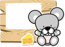 Cute baby mouse on wooden board Royalty Free Stock Images