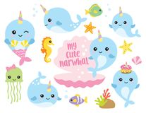Cute Baby Narwhal or Whale Unicorn with Other Sea Animals. Vector illustration of cute baby narwhal or whale unicorn characters with fishes, seahorse, jellyfish Stock Photos