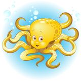 Octopus Naughty and Cute Baby Cartoon Character Vector Illustration. Cute Baby Octopus Cartoon Character, swimming in clear blue ocean water. Vector Illustration royalty free illustration