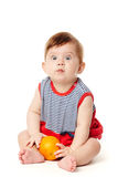 Cute baby with orange Royalty Free Stock Image