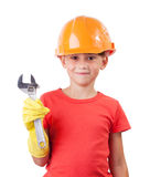 Cute baby in orange protective helmet Royalty Free Stock Photo