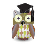 Cute baby owl cartoon wearing a mortarboard on white background. Stock Photography