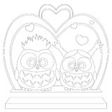 Cute baby owl in love black and white wedding poster, heart, arc, stair. Cute baby owl love black and white wedding poster, heart arc, stair. Coloring book page royalty free illustration