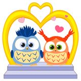 Cute baby owl in love wedding poster, heart, arc, stair Royalty Free Stock Image