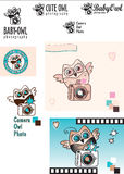 Cute Baby-Owl Photographer vector logo variations. Owl with a camera. Black and white. Color. Decorative elements stock photography