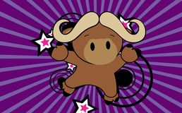 Cute baby oxen jumping cartoon background Royalty Free Stock Photography