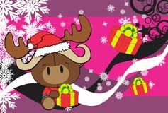 Cute baby oxen santa reindeer hat cartoon background Stock Photography
