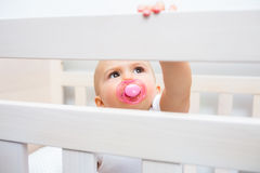Cute baby with pacifier in mouth in the crib Royalty Free Stock Photos