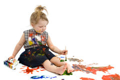 Cute baby paintings. On a white floor stock images
