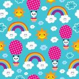 Cute baby panda bear rainbows clouds sky pattern. Cute baby panda bear rainbows clouds sky kids seamless pattern Royalty Free Stock Photos