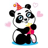 Cute baby panda cartoon character. Bear in festive cap and with present box. Vector isolated on white background with. Cute baby panda cartoon character. Bear in Stock Image