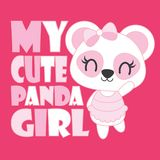 Cute baby panda is my cute panda girl vector cartoon illustration for baby shower card design Stock Images