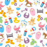 Cute Baby Pattern. Can be used as a greeting card, wrapping paper or decorative background stock illustration