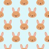 Cute baby pattern with little bunny. Cartoon animal girl print vector seamless. Sweet background with rabbit for children pajamas stock illustration