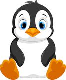 Cute baby penguin cartoon sitting. Vector illustration of cute baby penguin cartoon sitting isolated on white background vector illustration