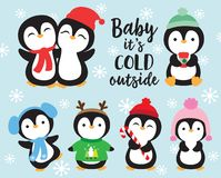 Cute Baby Penguins in Winter stock illustration