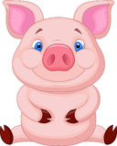 Cute baby pig cartoon sitting Royalty Free Stock Images