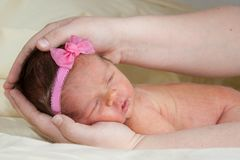 Cute Baby With A Pink Bow Royalty Free Stock Image