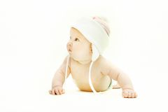 Cute baby in pink hat Royalty Free Stock Photos