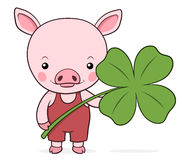 Cute baby pink piggy with a shamrock. Or four-leaf clover symbolic of St Patricks Day in Ireland and luck, vector cartoon illustration Stock Images