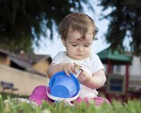 Cute baby at the playground Royalty Free Stock Image