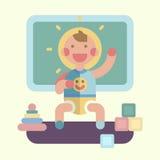 Cute baby playing. Geometry flat illustration royalty free illustration