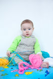 Cute baby playing with knitting Stock Photos