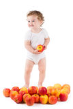 Cute baby playing with red apples, standing Royalty Free Stock Photography