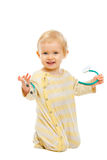 Cute baby playing stethoscope  on white Stock Photography