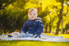 Cute baby are playing in the summer park Stock Images