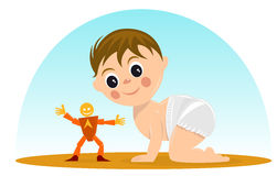 Cute baby playing with toys Royalty Free Stock Images