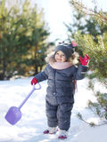 Cute baby playing in winter day Stock Image