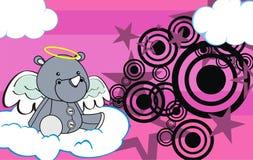 Cute baby plush rhino angel cartoon background Stock Photos