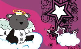 Cute baby plush sheep angel cartoon background Royalty Free Stock Images