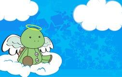 Cute baby plush turtle angel cartoon background Royalty Free Stock Photos