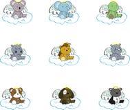 Cute baby plush animals angel cartoon set Royalty Free Stock Photography