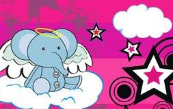 Cute baby plush elephant angel cartoon background Royalty Free Stock Photos