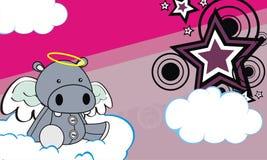 Cute baby plush hippo angel cartoon background Royalty Free Stock Photography