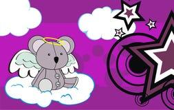 Cute baby plush koala angel cartoon background Stock Images
