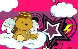 Cute baby plush porcupine angel cartoon background Stock Photo