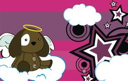 Cute baby plush puppy angel cartoon background Stock Images