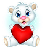 Cute baby polar bear posing with heart love Royalty Free Stock Photo