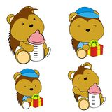 Cute baby porcupine cartoon feeding bottle collection. Cute baby animal cartoon holding feeding bottle collectionin vector format very easy to edit stock illustration
